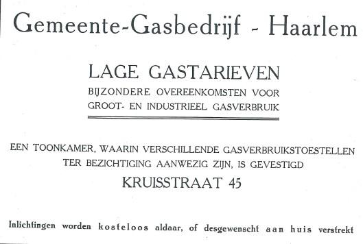 Advertentie van gemeente-gasbedrijf Haarlem uit 1930