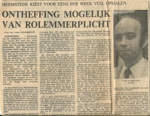 Artikel over rolemmer uit het Haarlems Dagblad van 1 februari 1980
