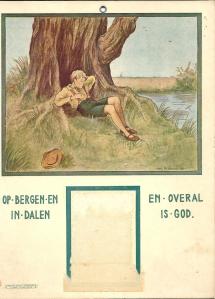 Achterkant van een door de Ned. Protestantenbond in 1936 uitgegeven kalender.