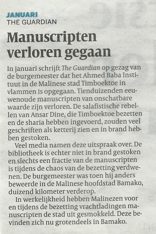'Manuscripten verloren gegaan'. Bericht uit De Volkskrant van 28 december 2013