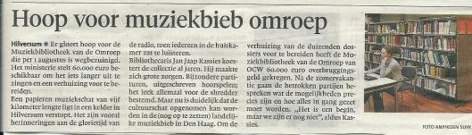 Nieuwe hoop voor muziekbibliotheek. Bericht uit het Haarlems Dagblad van 11 juli 2013