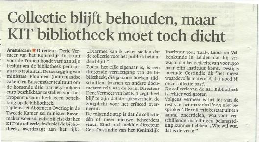 Bericht over sluiting KIT bibliotheek uit Haarlems Dagblad van 21 juni 2013