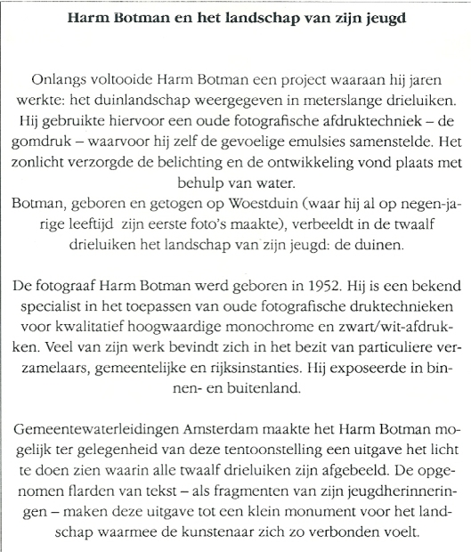 Informatie naar aanleiding van opening tentoonstelling 'Duinen'van 18 november tot en met 6 december 1992 in het gemeentehuis Bloemendaal.