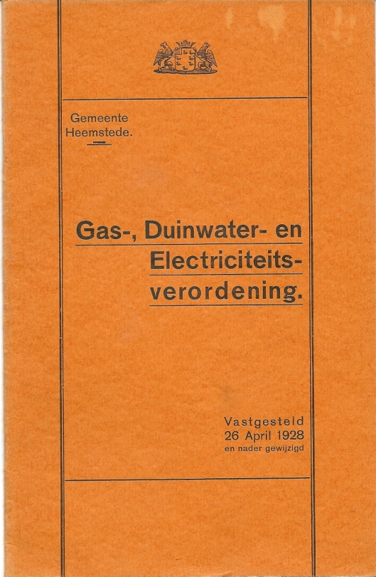 Vooromslag gas- duinwater- en electriciteitsverordening Heemstede 1928-1962