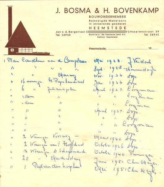 Ontwerp voor 3 woningen in de dr.Schaepmanlaan Heemstede, oktober 1940 voor J.Bosma & H.Bovenkamp. Vanwege oorlogsperiode niet gerealiseerd