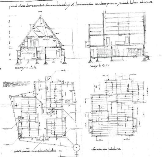 Bouwtekening landhuis Herenweg 89, door H. Tuninga. In opdracht van bouwbureau J.E.B. Opgeleverd 6-12-1933, Baalbergen & Volkers. De eerste bewoner was K.W. van der Toorren.