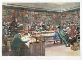 Houtgravure van een boekenveiling bij Sotheby's Londen eind 19e eeuw met Bernard Quaritch als veilinghouder achter de lessenaar