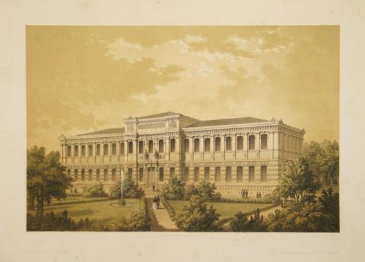 Prent van vooraanzicht Koninklijke Bibliotheek in Stockholm