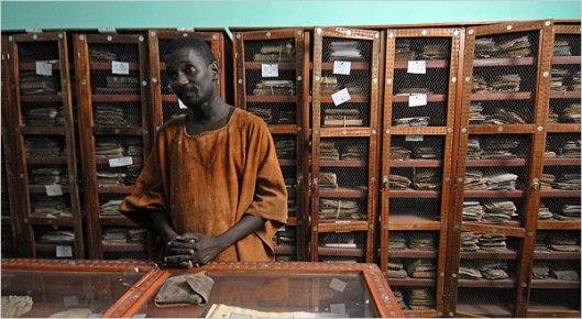 Een van de grotere particuliere bibliotheken in Mali