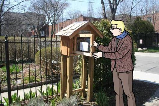 Mogelijk de eerste little free library cartoon, door Mike Winters gepubliceerd in 'The Globe and Mail