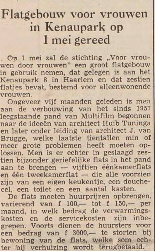 Het laatste project van Huib Tuninga betrof de verbouwing van een pand in het Kenaupark aakt foor J.van Bruge (Uit Haarlem's Dagblad van 28 april 1958).