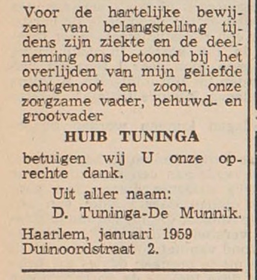 Advertentie van weduwe mw. D.Tuninga-De Munnik (Haarlem's Dagblad, 28 april 1959).