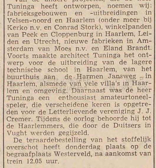 Vervolg levensbericht Huib Tuninga, Haarlems Dagblad, 8 december 1958