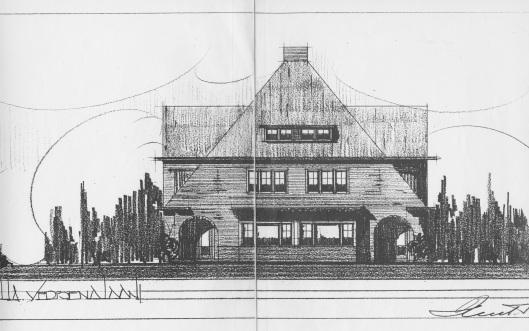 Ontwerptekening van Huib Tuninga uit 1021 van villa Verbenalaan 1-3