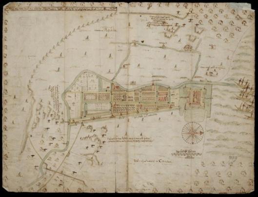 Kaart van Batavia, hoofdkwartier van VOC (Nationaal Archief Den Haag)