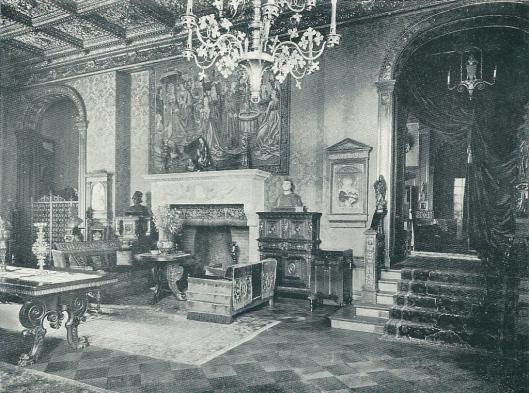 De achtersalon van de Hartekamp omstreeks 1935 met een cassetenplafond dat afkomstig was van een paleisje in Florence.