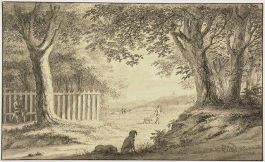 Duinen nabij hofstede de Hartekamp. Tekening door Gerard van Rossum (1698-1772) (N.H.A.)