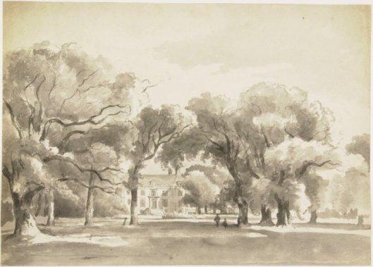 Oostkant ofwel achterzijde van de Hartekamp; tekening door Arnoldus Eymer, circa 1840