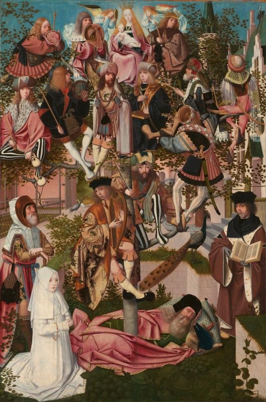 'De boom van Jesse' door Geertgen van Sint Jans (vroeger toegeschreven aan J.J.Mostaert), 15e eeuw. Was in bezit van mw. C.von Pannwitz, in 1956 geveild bij Rosenberg in New York en toen aangekocht door het Frans Hals Museum in Haaelem met steun van de Vereniging Rembrandt.