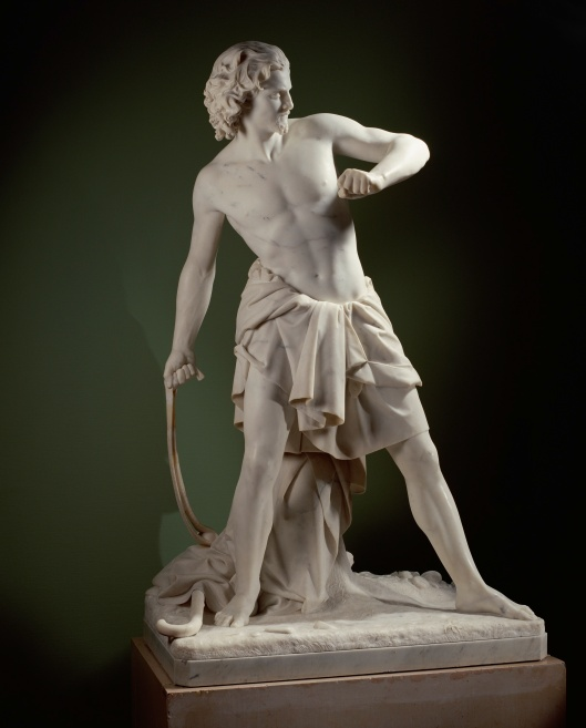 Beeld van David die een steen slingert nar Goliath. Sculptuur van Pietro Magni (1817-1871) uit 1851. In 1901 door de weduwe Van Verschuer-Brants geschonken aan het Rijksmuseum