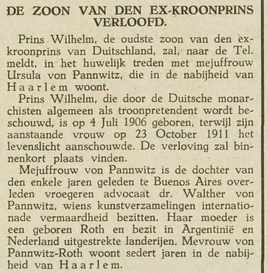 Een huwelijk dat geen doorgang vond. Bericht uit o.a. Maas- en Scheldebode, 13-3-1929