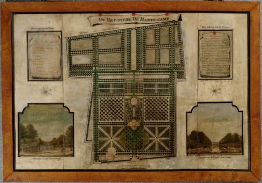 Plattegrond van de Hartekamp uit 1708, door landmeter Maurits van Walraven in opdracht van Johan Hinlopen.