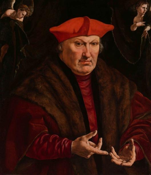 Portret van Erard de la Maeck door Jan Corneliszoon Vermeyen (circa 1528/1530). Was in bezit van mw. Cat. von Pannwitz. Tegenwoordig in Rijksmuseum.