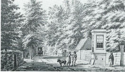 Tekening uit 1795 van de Herenweg ter hoogte van de Hartekamp in de richting van de Geleerde Man. (N.H.A.)