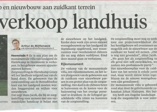 In het Haarlems Dagblad van 7 september 2015 kondigde de directie van de Hartekamp Groep in Heemstede aan om het monumentale hoofdgebpuw te verkopen
