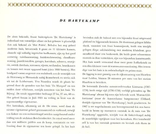 Beknopte beschrijving van roemrijke historie van de Hartekamp in veilingprospectus 1952. Het landgoed werd aangekocht door de Broeders Penitenten uit het Brabantse Boekel.
