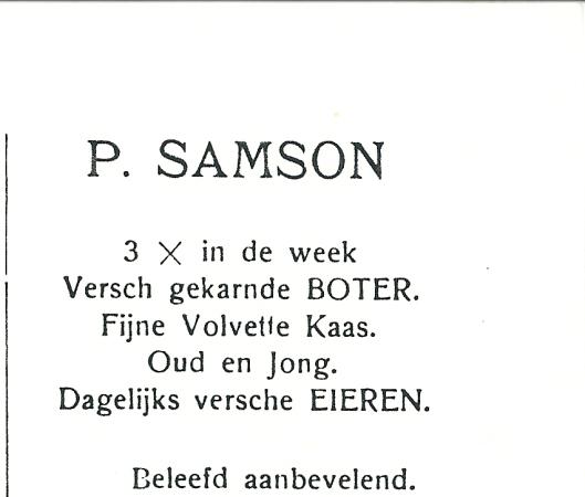 Advertentie van P.Samson, Raadhuisstraat 38 Heemstede uit 1927