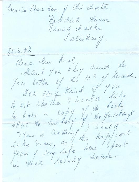 Brief van Ursula Chicester-von Pannwitz, gravin van Chichester de dato 25-3-1982