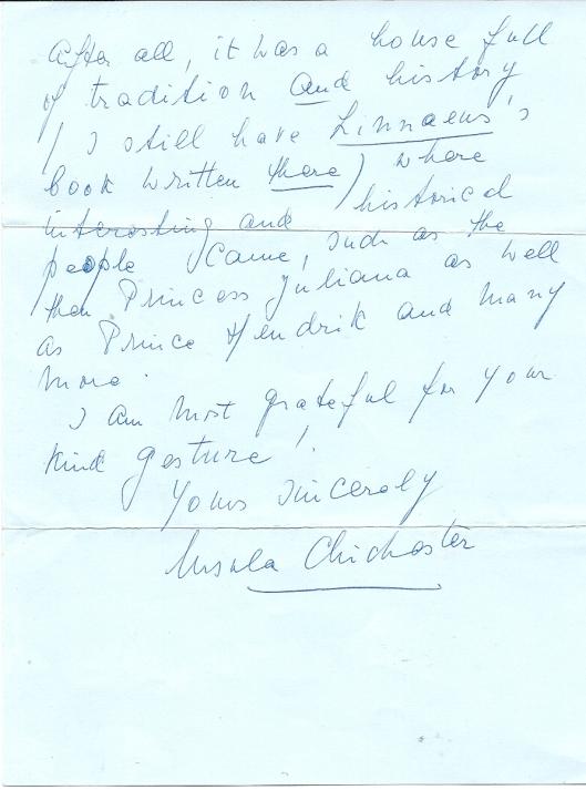 Vervolg brief Ursula Chichester