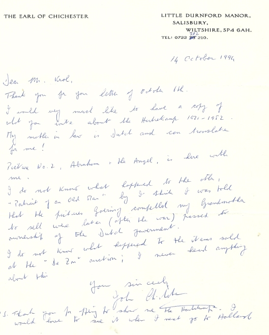 Brief van the Earl of Chichester Lord John Pelham vanuit Salisbury (Wiltshire), 14 oktober 1994.