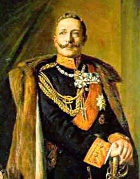 Portret van keizer Wilhelm II in vol ornaat