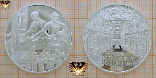 Een in 1998 uitgegeven herdenkingsmunt met afbeelding van Stiftsbibliothek Admont