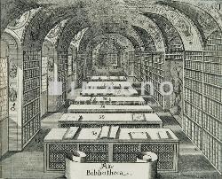Alte Bibliothek. In Wenen verschenen kopergravure uit 1673
