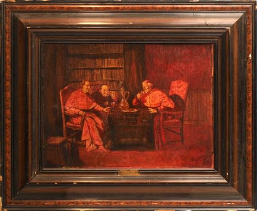 R.von Grünberg. Schilderij van 3 monniken in de bibliotheek aan de wijn.