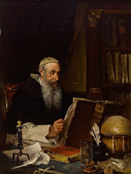 Franz Reichardt (1825-1887): pater prior in de kloosterbibliotheek. Schilderij uit 1887.