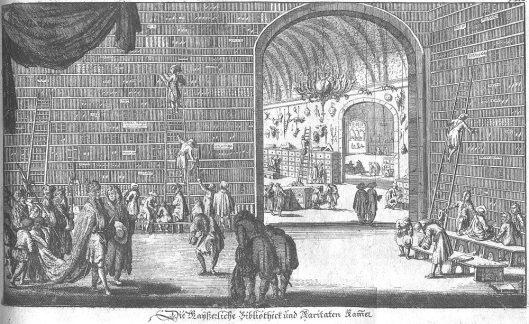Gravure van de Weense hofbibliotheek enb hetv rariteitenkabinet. Uit: Edward Brown's reisboek door Nederland, Duitsland, Hongarije etc. Nürnberg, 1685.
