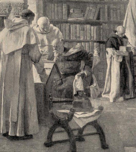 Detail van Kloosterbibliotheek in de Middeleeuwen (Kiederich)