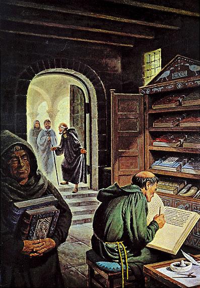 Fantasietekening van een middeleeuws scriptorium/kloosterbibliotheek