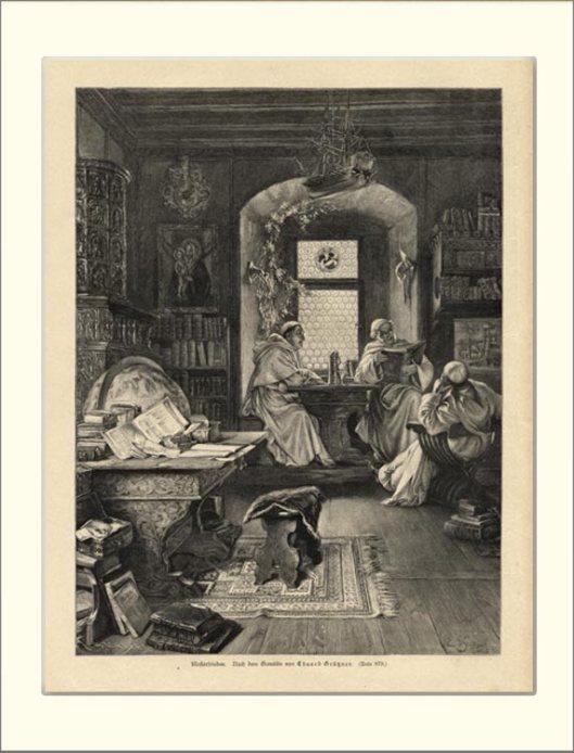 Kloostervrede. Houtgravure uit 1893 van E.Grützer