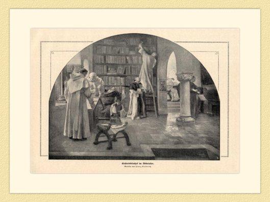 Houtsnede van een kloosterbibliotheek in de Middeleeuwen