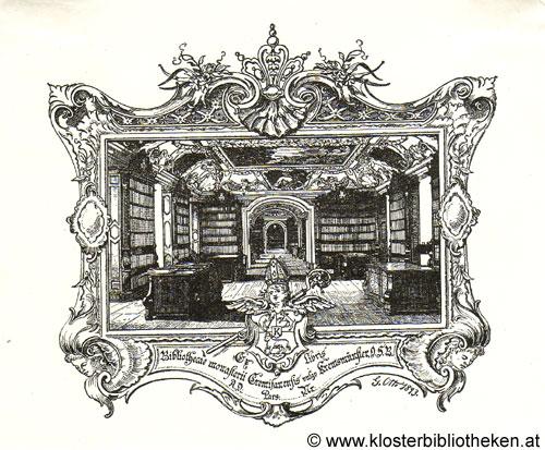 Exlibris: Bibliothecae monasterii Cremifenensis vulgo Kremsmünster O.S.B.  Georg Otto, 1893.