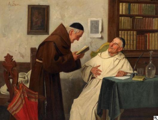 Alessandro Sani (1856-1927) schilderij van 'in de kloosterbibliotheek'