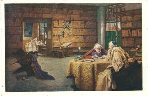 Kaart met  schilderij-afbeelding van een kloosterbibliotheek door Richard Linderum