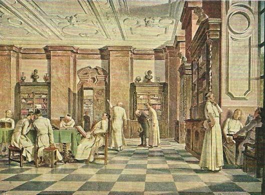 Kaart met afbeelding van Alois Greil: 'In der Stiftsbibliothek' [Ostmark, Bund Deutscher  Oesterreicher, Linz a.d.Donau, circa 1940)