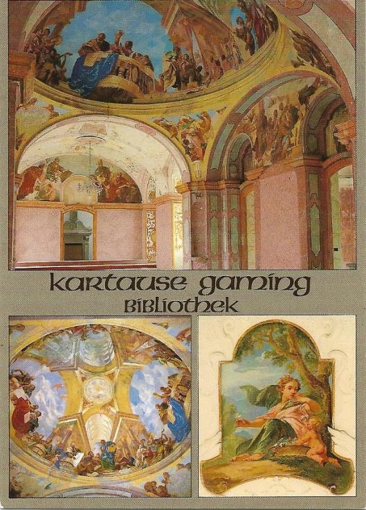 Karthuizerklooster in Gaming, Bibliotheek, met boven totaaloverzicht, linksonder koepel met fresco en rechtsonder  van de 4 jaargetijden: de lente