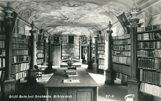 Prentbriefkaart van Stift Rein, nabij Gratwein. Cisterciënzerorde. Grote bibliotheekzaal uit de laatbarok kwam in 1753 gereed.